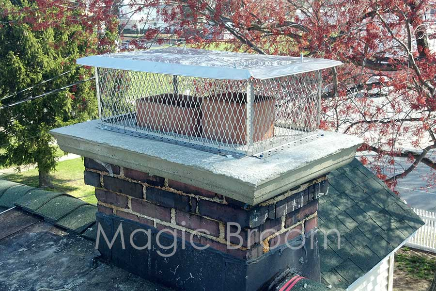 new chimney cap and rebuilt chimney crown