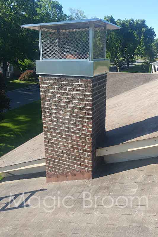 chimney fixing mortar joints, waterproofing, and installing chimney cap