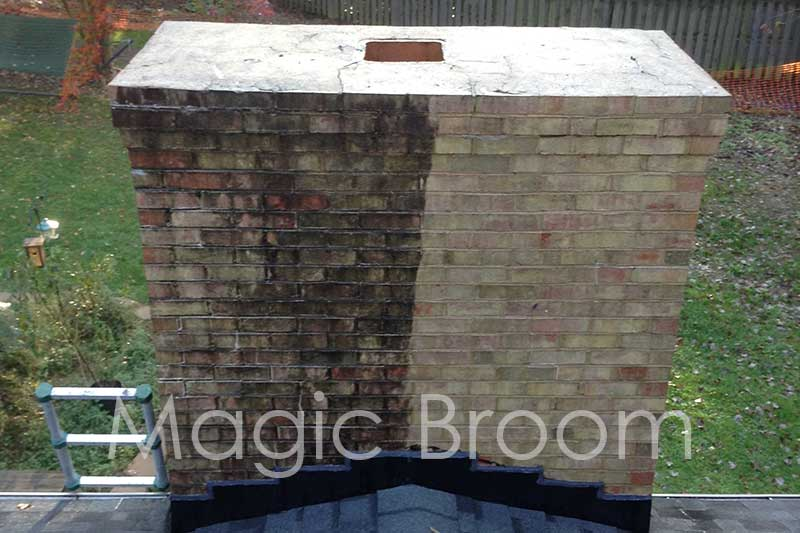 vegetation growth on chimney before and after