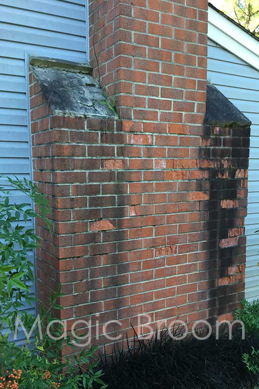 spalled brick chimney