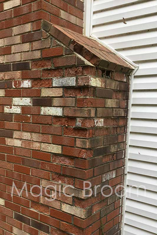 chimney with spalling brick
