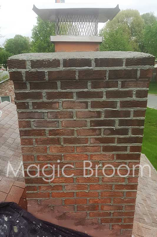 water soaked masonry chimney