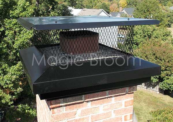 Black Galvanized Steel Adjustable Top Mount Rectangle Chimney Cap 21 x 14 In