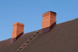 two brick chimneys