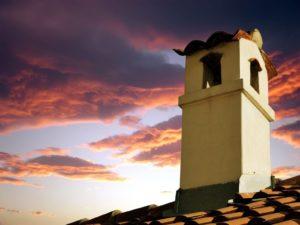 chimney at sunset